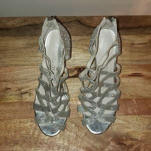 Aldo Sparkly Silver Strappy Heels